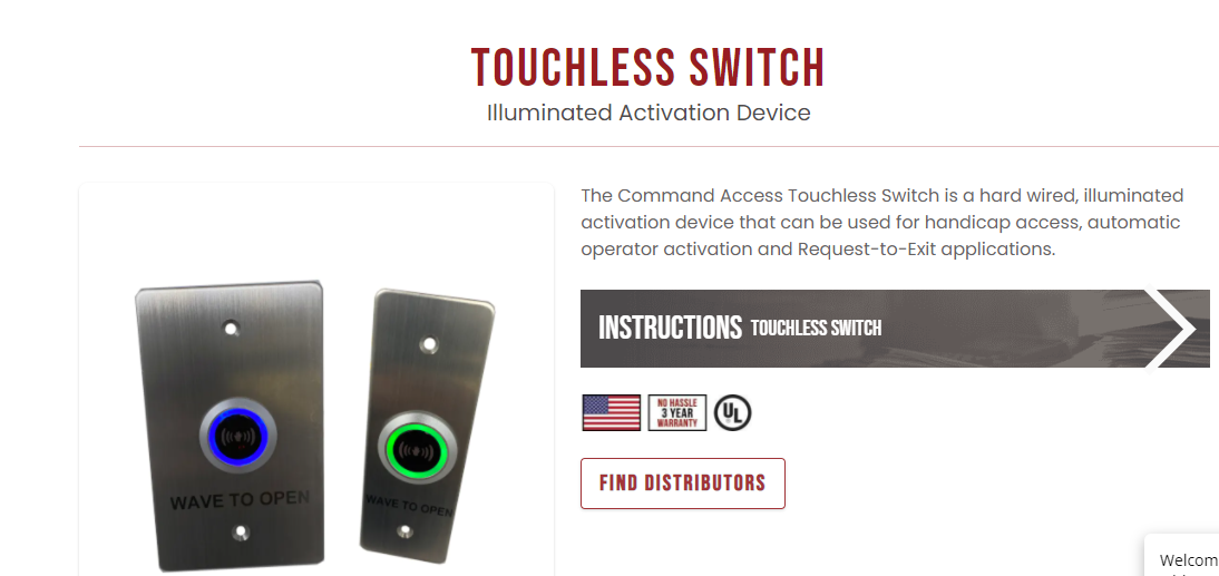 Command Access Touchless Switch Illuminated Activation Device
